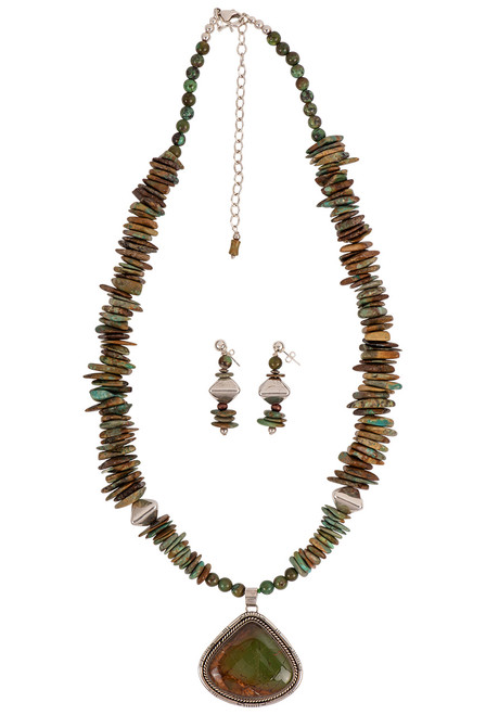 Sweet Tea Jewelry Brown & Green Pendant Necklace Set - Necklace Set