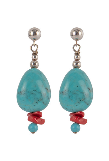 Sweet Tea Coral & Turquoise Pendant Necklace Set  - Earrings