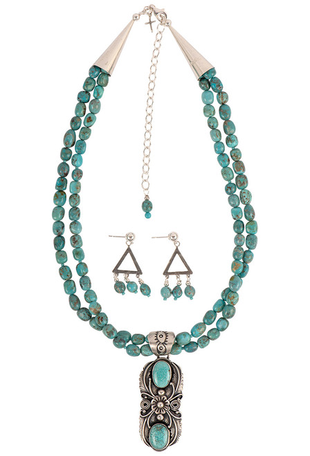 Sweet Tea Jewelry Turquoise Pendant Necklace Set - Set