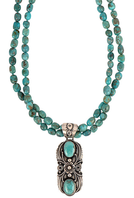 Sweet Tea Jewelry Turquoise Pendant Necklace Set - Necklace