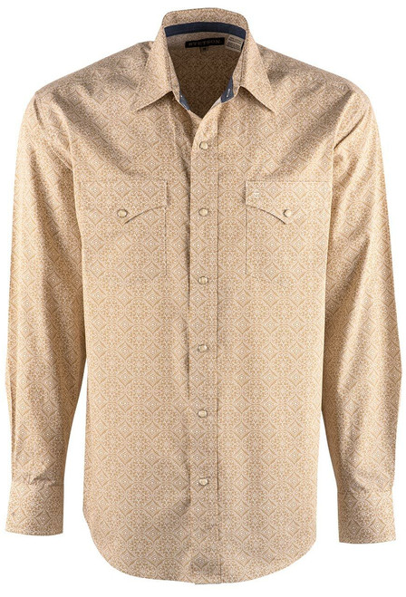 Stetson Tan Etched Medallion Snap Shirt - Front