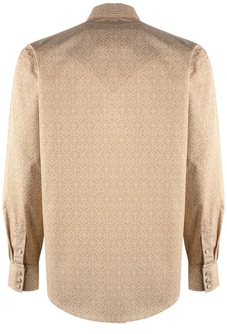 Stetson Tan Etched Medallion Snap Shirt - Back