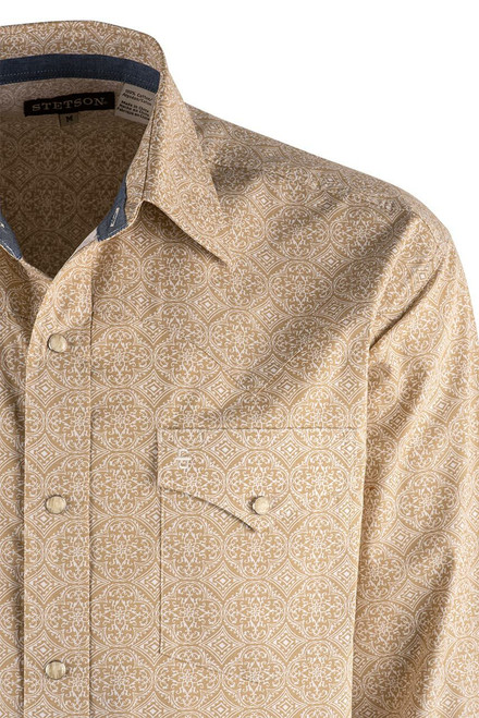 Stetson Tan Etched Medallion Snap Shirt - Yoke