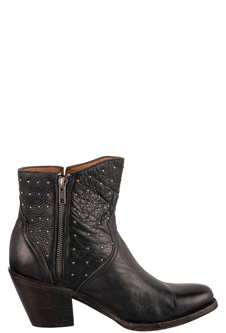 Lucchese Women's Black Harley Studded Booties - Side