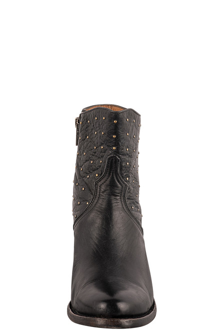 Lucchese Women's Black Harley Studded Booties - Front