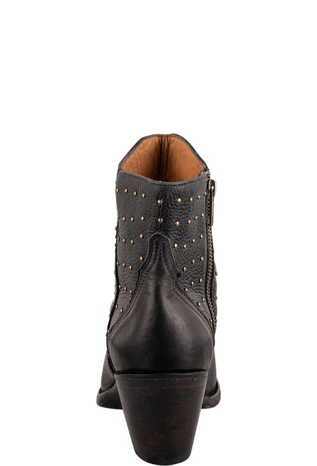 Lucchese Women's Black Harley Studded Booties - Back
