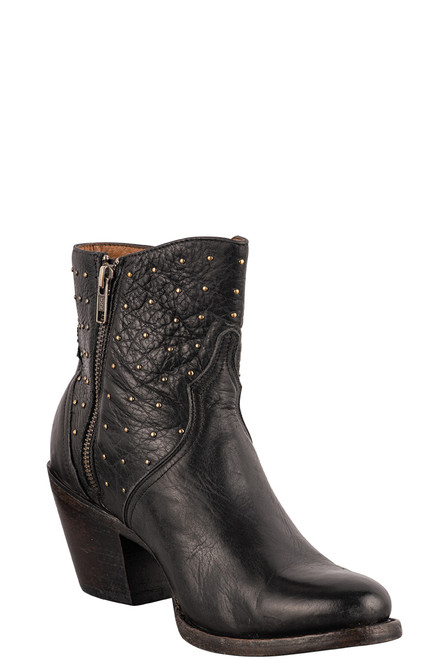 Lucchese Women's Black Harley Studded Booties - Angle