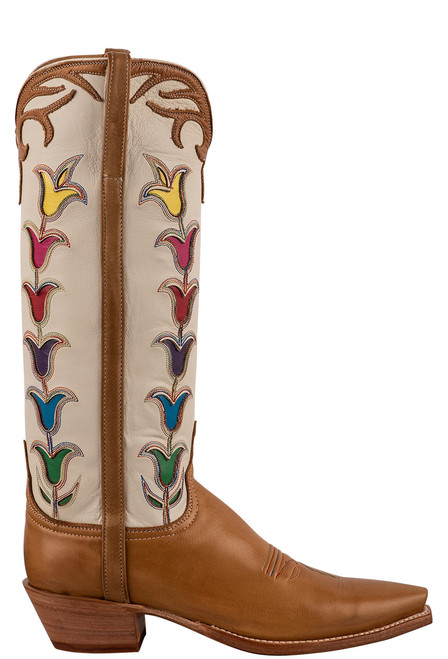 """Lucchese 15"""" Tulip Rust Cowboy Boots - Side"""