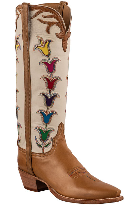"""Lucchese 15"""" Tulip Rust Cowboy Boots - Angle"""