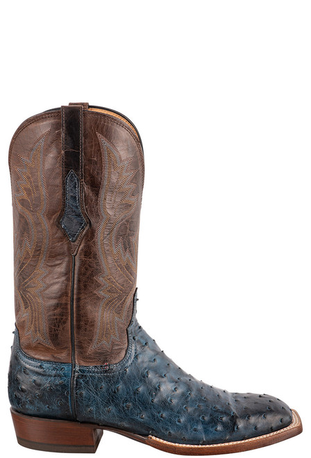 """Lucchese Cliff 12"""" Antique Navy Chocolate Full Quill Ostrich Boots - Side"""