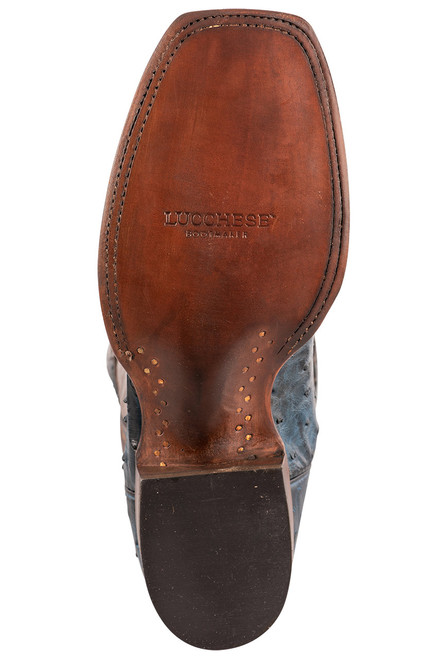 """Lucchese Cliff 12"""" Antique Navy Chocolate Full Quill Ostrich Boots - Sole"""