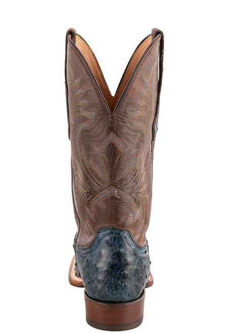 """Lucchese Cliff 12"""" Antique Navy Chocolate Full Quill Ostrich Boots - Back"""