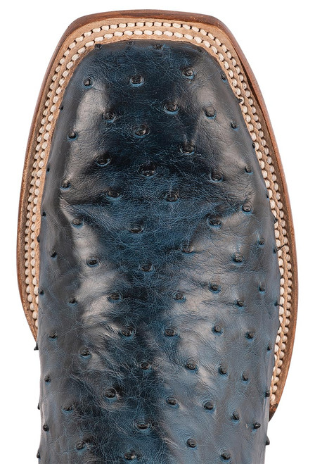 """Lucchese Cliff 12"""" Antique Navy Chocolate Full Quill Ostrich Boots - Toe"""