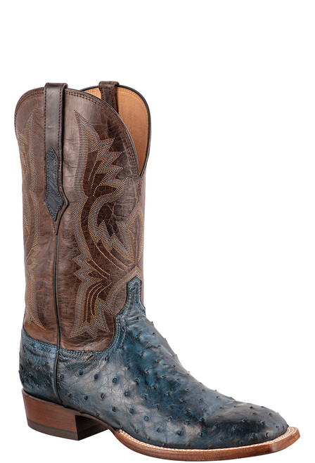 """Lucchese Cliff 12"""" Antique Navy Chocolate Full Quill Ostrich Boots - Angle"""