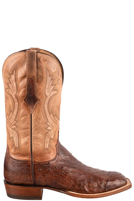 """Lucchese Cliff 12"""" Antique Chocolate Tan Full Quill Ostrich Boots - Side"""