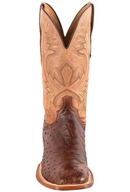 """Lucchese Cliff 12"""" Antique Chocolate Tan Full Quill Ostrich Boots - Front"""