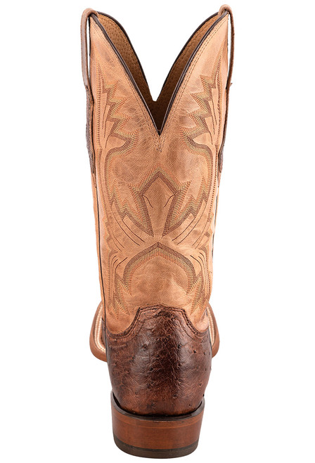 """Lucchese Cliff 12"""" Antique Chocolate Tan Full Quill Ostrich Boots - Back"""
