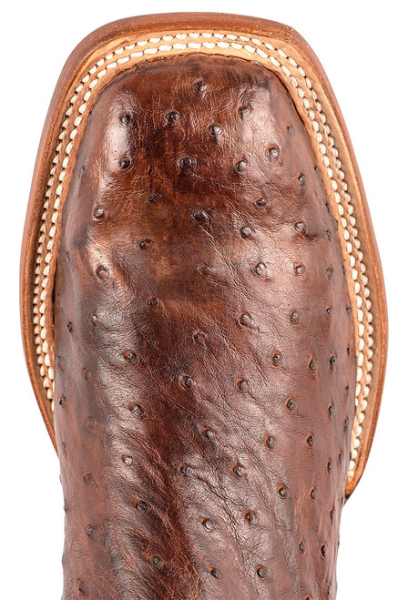 """Lucchese Cliff 12"""" Antique Chocolate Tan Full Quill Ostrich Boots - Toe"""