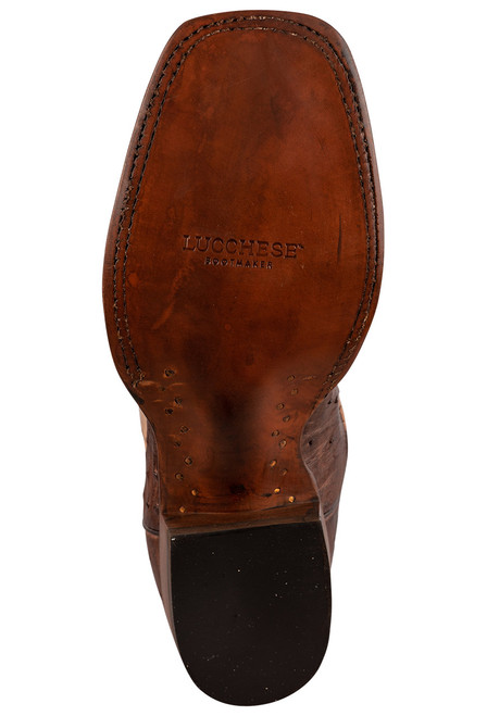 """Lucchese Cliff 12"""" Antique Chocolate Tan Full Quill Ostrich Boots - Sole"""