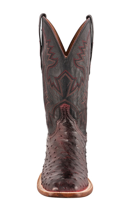"""Lucchese Cliff 12"""" Antique Black Cherry Full Quill Ostrich Boots - Front"""
