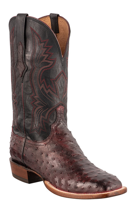 """Lucchese Cliff 12"""" Antique Black Cherry Full Quill Ostrich Boots - Angle"""