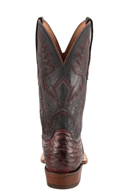 """Lucchese Cliff 12"""" Antique Black Cherry Full Quill Ostrich Boots - Back"""