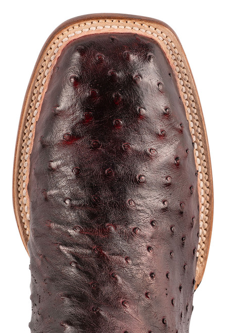 """Lucchese Cliff 12"""" Antique Black Cherry Full Quill Ostrich Boots - Toe"""