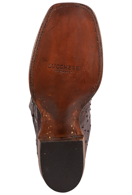 """Lucchese Cliff 12"""" Antique Black Cherry Full Quill Ostrich Boots - Sole"""