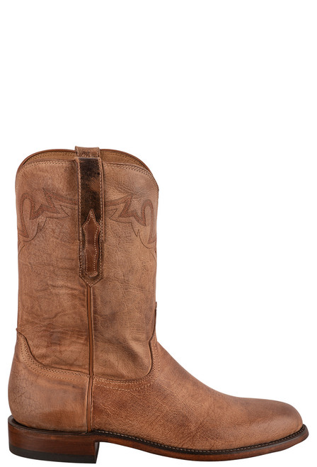 Lucchese Sunset Roper Tan Mad Dog Cowboy Boots - Side
