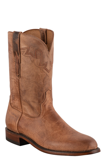 Lucchese Sunset Roper Tan Mad Dog Cowboy Boots - Angle