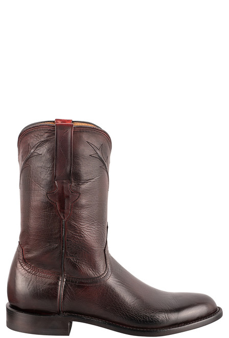 Lucchese Kennedy Black Cherry Florence Buffalo Roper Boots - Side
