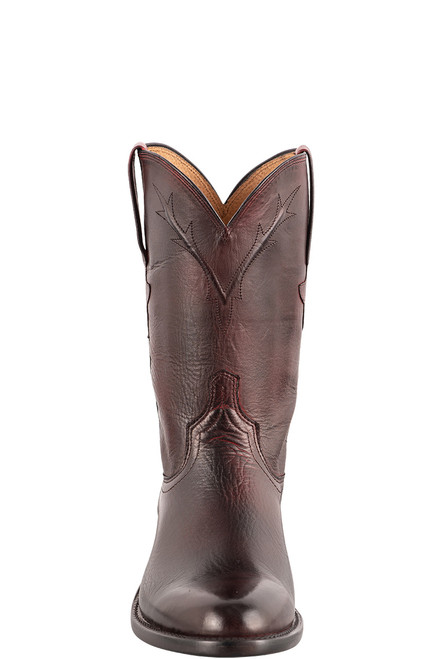 Lucchese Kennedy Black Cherry Florence Buffalo Roper Boots - Front