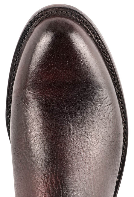 Lucchese Kennedy Black Cherry Florence Buffalo Roper Boots - Toe