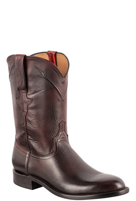 Lucchese Kennedy Black Cherry Florence Buffalo Roper Boots - Angle