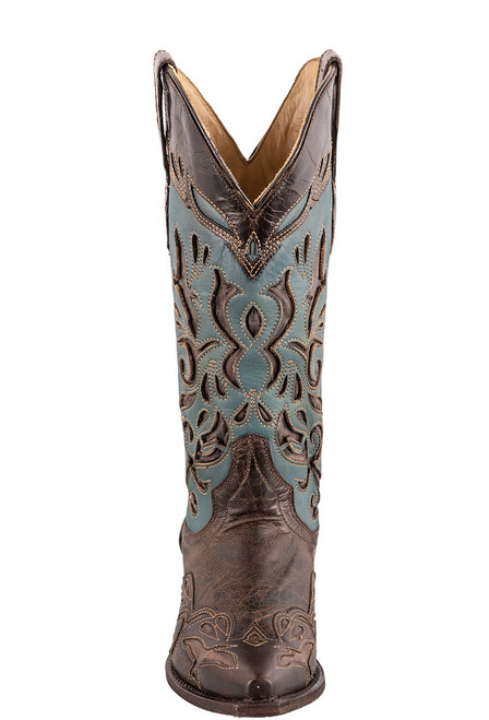 Stetson Women's Brown and Blue Underlay Cowboy Boots - Front