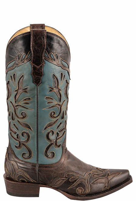Stetson Women's Brown and Blue Underlay Cowboy Boots - Side