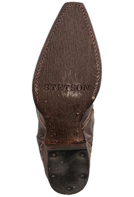Stetson Women's Brown and Blue Underlay Cowboy Boots - Sole