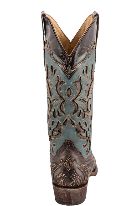 Stetson Women's Brown and Blue Underlay Cowboy Boots - Back
