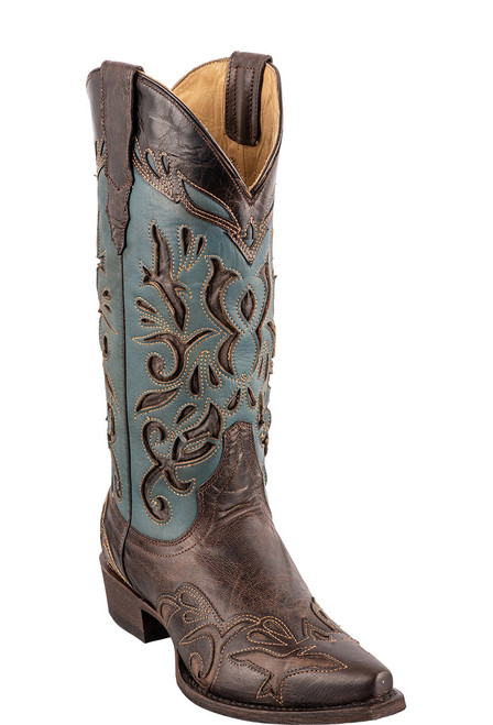 Stetson Women's Brown and Blue Underlay Cowboy Boots - Angle