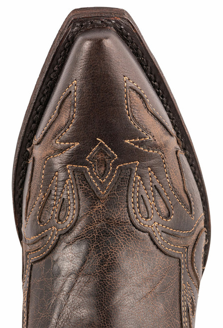 Stetson Women's Brown and Blue Underlay Cowboy Boots - Toe