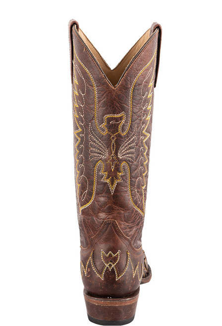 Stetson Women's Brown Eagle Overlay Cowboy Boots - Back