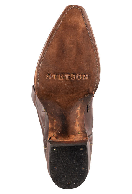 Stetson Women's Brown Eagle Overlay Cowboy Boots - Sole