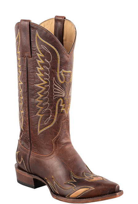 Stetson Women's Brown Eagle Overlay Cowboy Boots - Angle