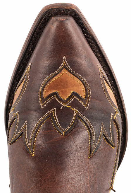 Stetson Women's Brown Eagle Overlay Cowboy Boots - Toe
