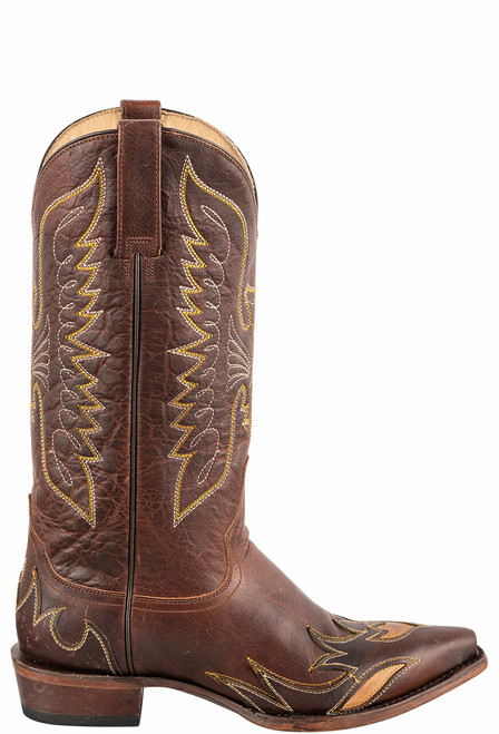 Stetson Women's Brown Eagle Overlay Cowboy Boots - Side