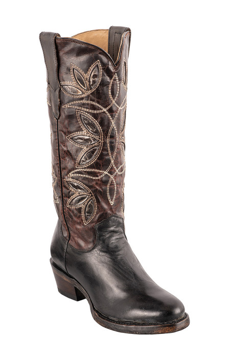 Stetson Women's Vintage Floral Underlay Cowboy Boots - Angle