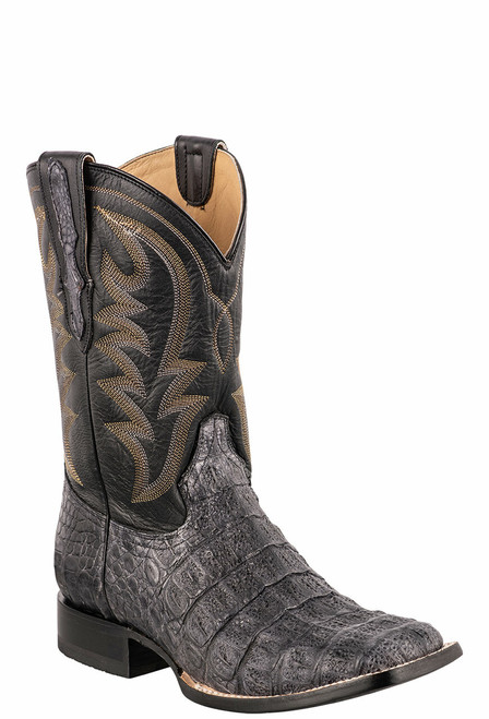 Stetson Men's Grey & Black Caiman Belly Cowboy Boots - Angle