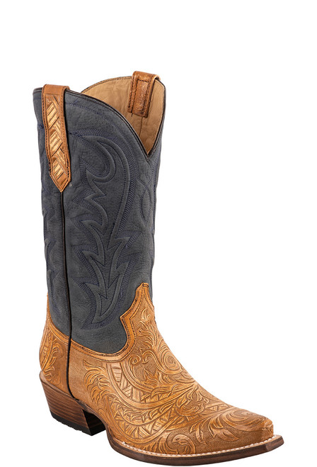 Stetson Men's Tan & Blue Handtooled Cowboy Boots - Angle