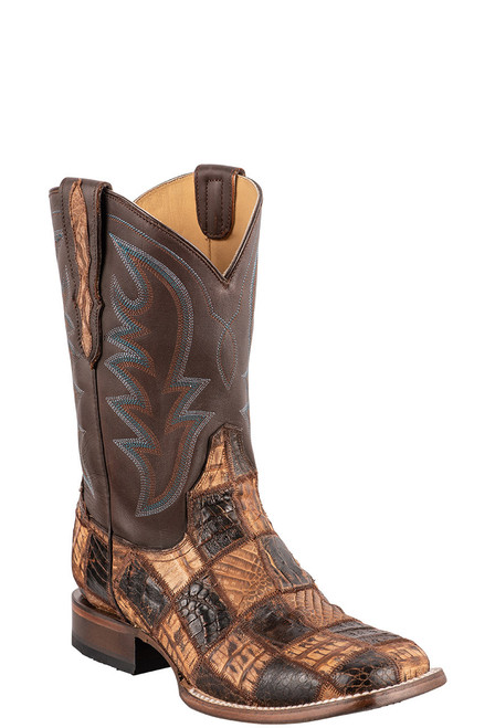 Stetson Men's Brown & Tan Caiman Patch Cowboy Boots - Angle