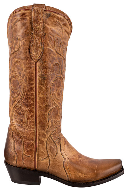 """Lucchese Patsy 13"""" Tan Mad Dog Cowboy Boots - Side"""